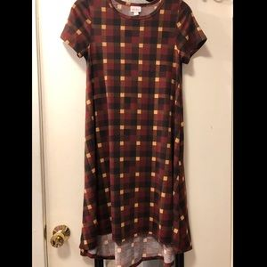 LuLaRoe Carly Size XXS Warm Colored Plaid